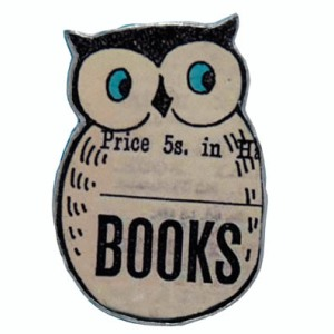Owl book brooch