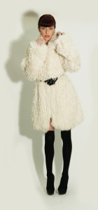 REBEKAH faux fur white coat silk lined fazane designer fashion blogger gemma critchley carrot top PR